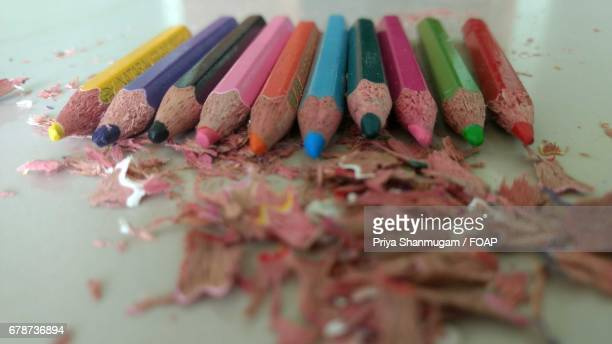 Colored pencils with shavings