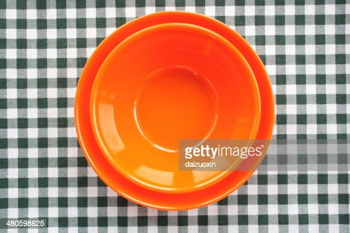Colored plastic bowls : Stock Photo