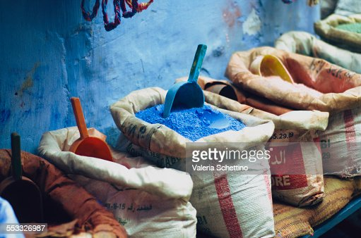 Colored powders for textile dyes on streets