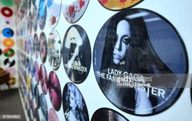 Colored records decorate the office walls at Erika Records where discs are manufactured in the record pressing plant in Buena Park California on...