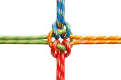 Four twisted ropes of different colors linked together in the middle.  The ropes are red, blue, yellow and green in color.