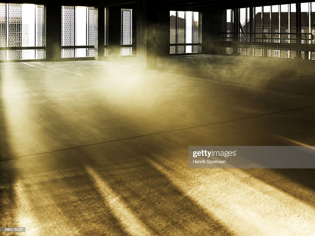 Colored smoke in an industrial environment : Stock Photo