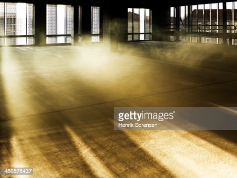 Colored smoke in an industrial environment