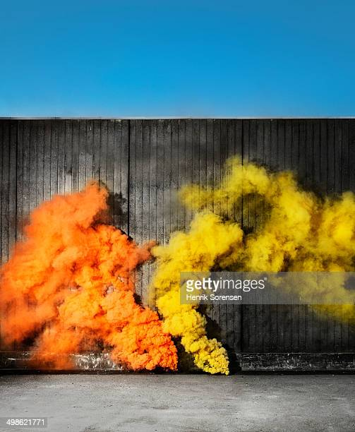 colored smoke in urban area