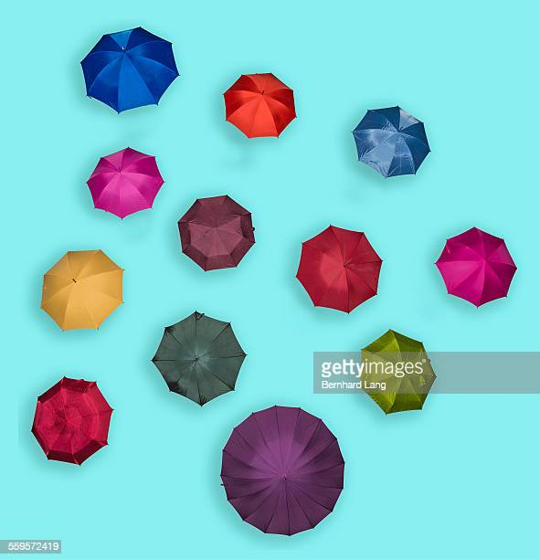 Colored umbrellas, Aerial View