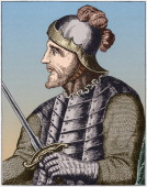 Colored wood engraving depicts a Spanish explorer Vasco Nunez de Balboa 1513 He is credited with being the first European to view the Pacific Ocean