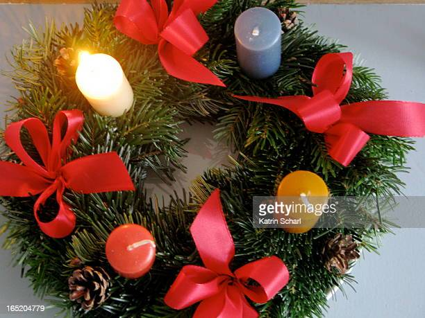 Colorful advent wreath