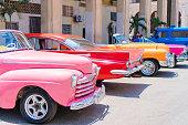 Colorful American Classic car on the street in Havana Cuba