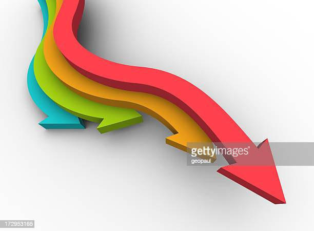 Colorful arrows pointing downward