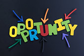 Colorful arrows pointing to the word OPPORTUNITY at the center on black chalkboard, concept of future opportunity in career path, job or work journey, motivation for life target or success in work.