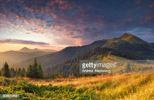 Colorful autumn landscape in the mountains. Sunrise : Stock Photo