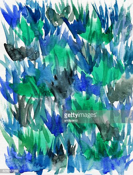 Colorful background hand painted shades of green and blue