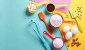 Colorful still life of cake baking with copy space.