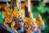 Colorful Balinese statue at gunung kawi sebatu, island of Bali