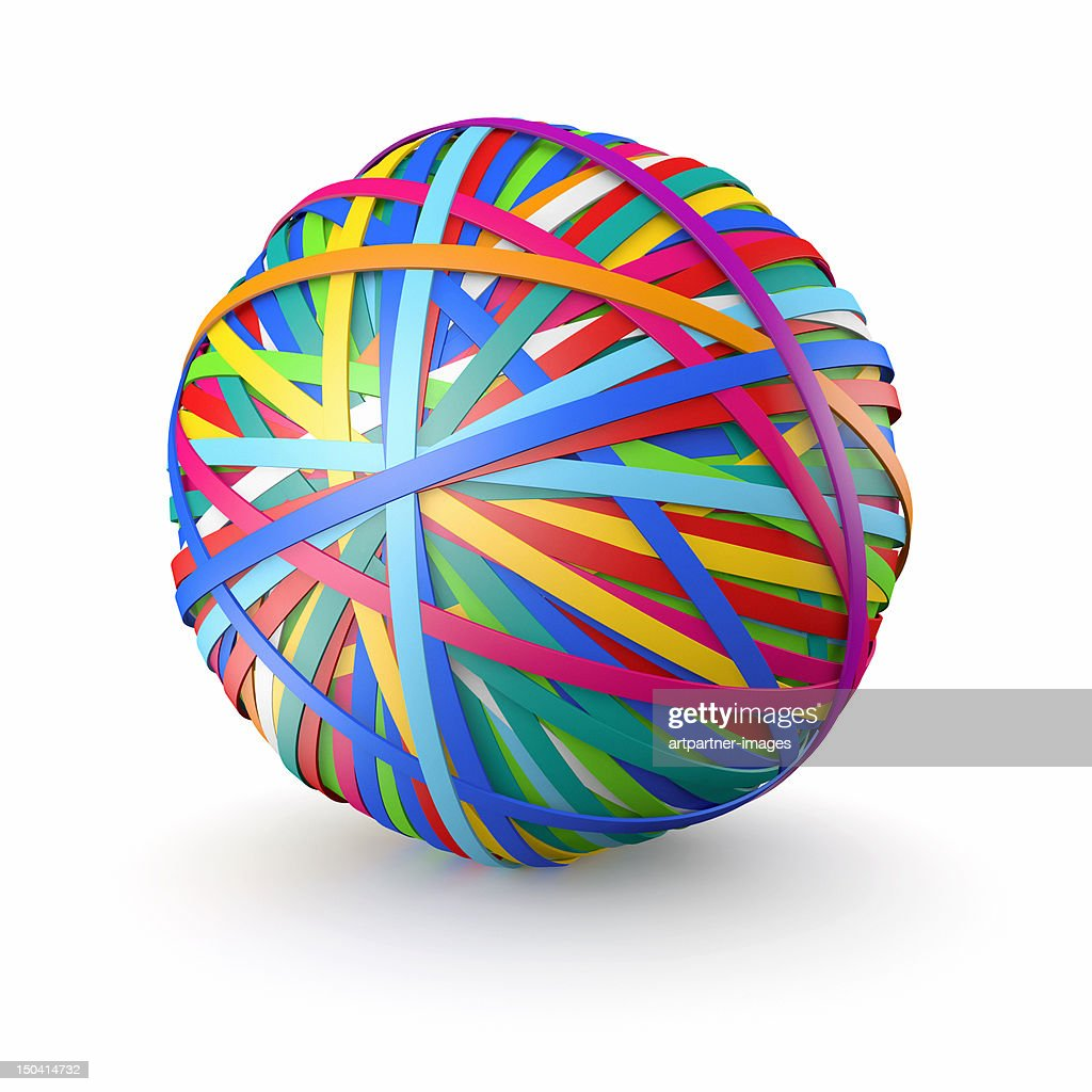 A colorful ball of rubber bands, on white : Stock Photo