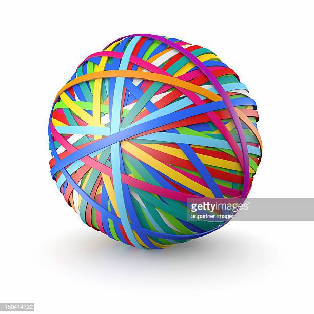 A colorful ball of rubber bands, on white