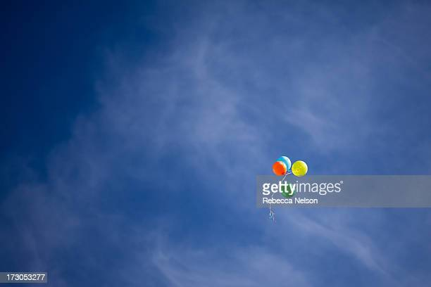 colorful balloons floating in blue sky