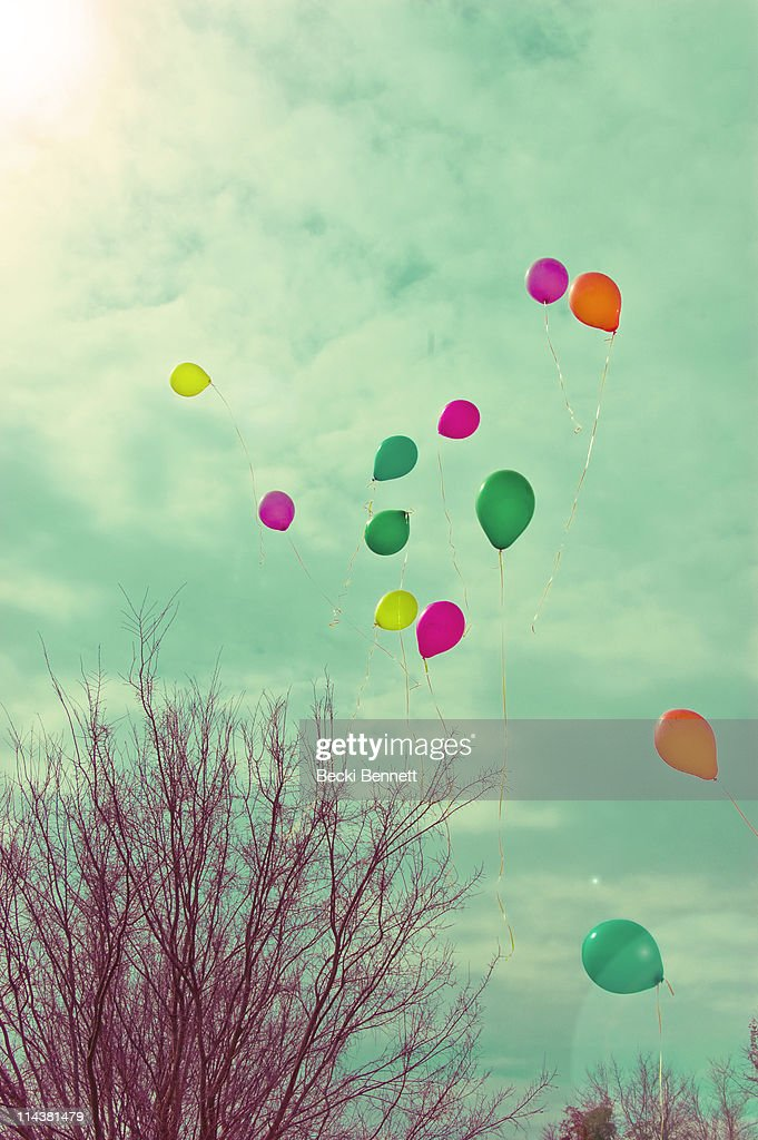 Colorful balloons released into sky with sunflare
