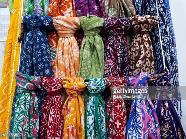 Colorful Batik Scarves Hanging At Market For Sale in Yogyakarta Indonesia