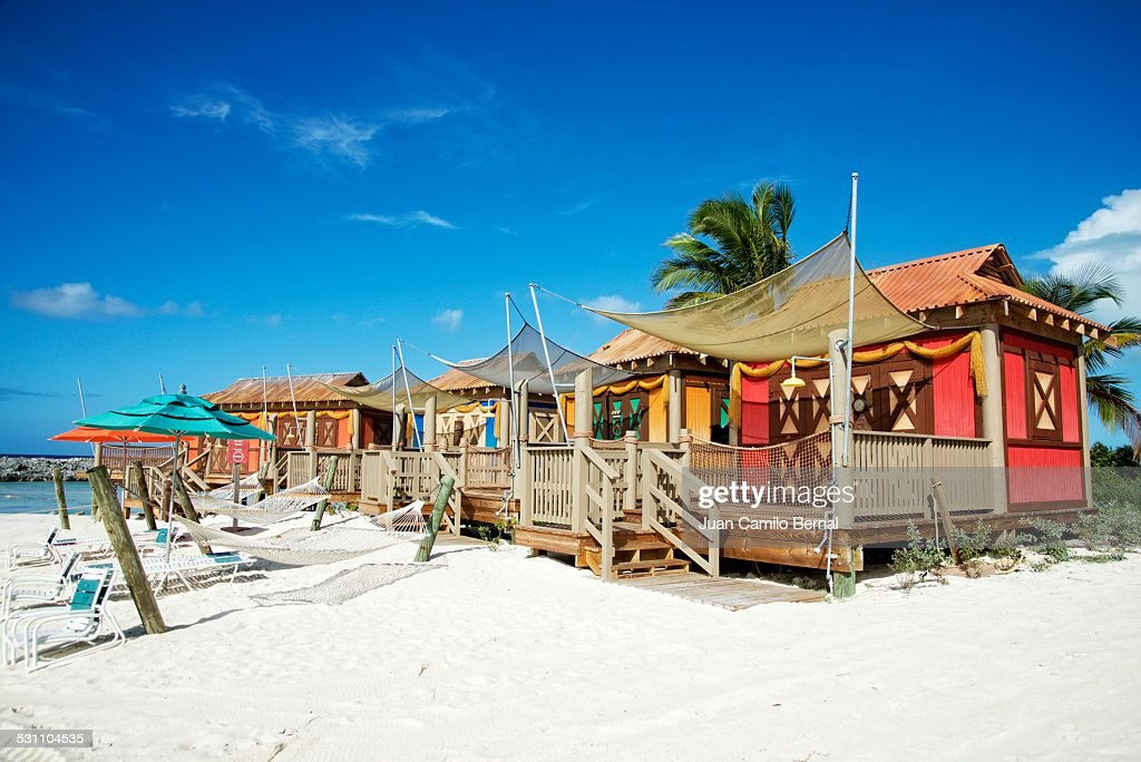 Colorful beach cabanas in the Caribbean