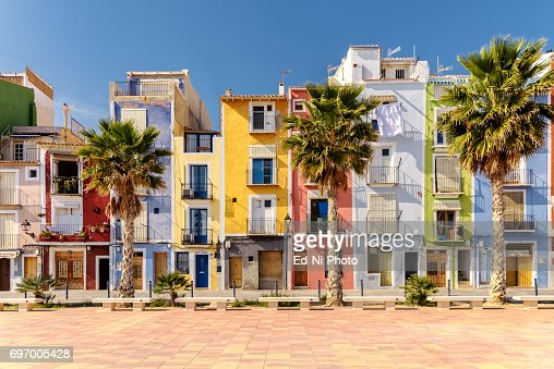 Colorful beach homes in Mediterranean Villajoyosa, Southern Spain : Foto stock