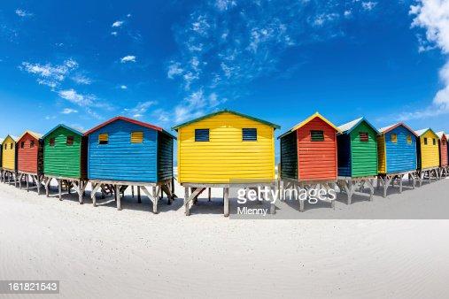 Colorful Beach Huts Fisheye View