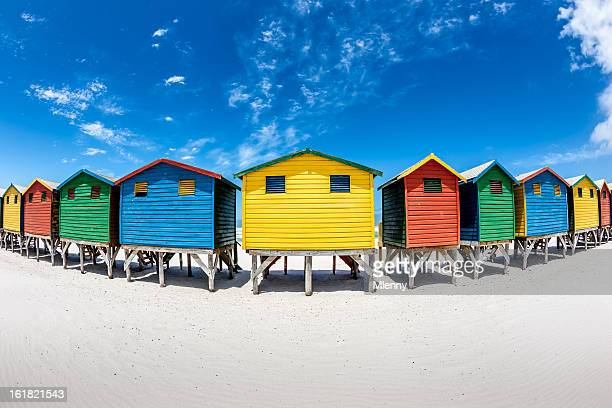 Colorful Beach Huts Fisheye View