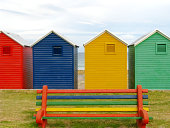 Colorful beach huts in South Africa