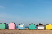 Colorful row of beach huts on the beach