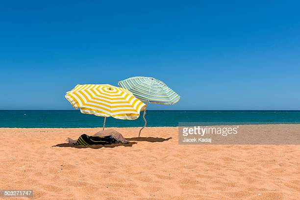 Colorful beach umbrellas on the sandy beach