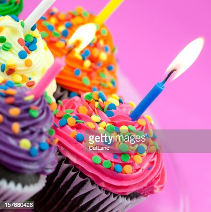 Colorful Birthday Cupcakes : Stock Photo