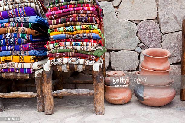 Colorful blankets on chair at market in Argentina south america
