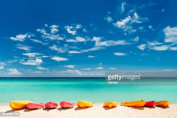 Colorful boats at the beach in the Caribbean