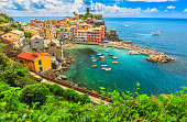 Stunning panorama of Vernazza and suspended garden,Cinque Terre National Park,Liguria,Italy,Europe