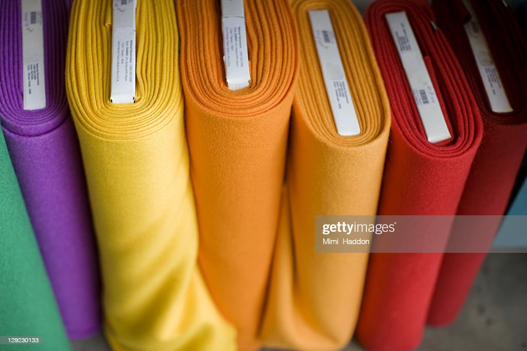 Colorful Bolts of Fabric in Craft Supply Store : Stock Photo
