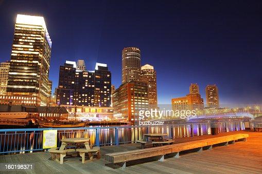 Colorful Boston City Center at Night : Stock Photo