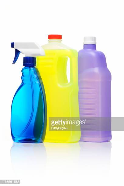 Colorful bottles of cleaning products