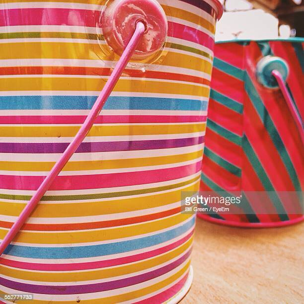 Colorful Buckets On Table