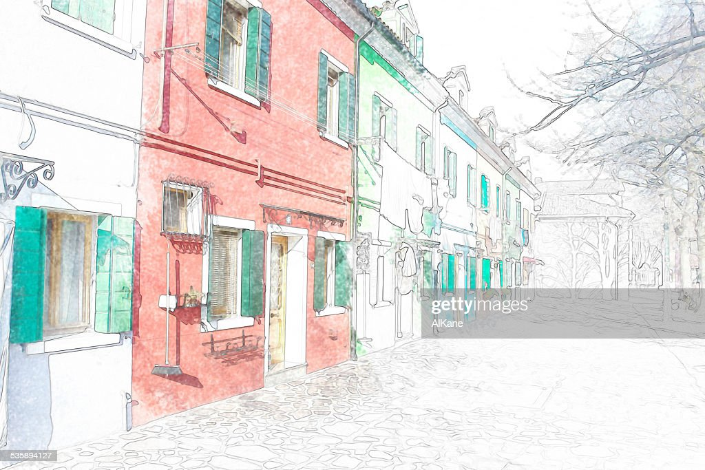 colorful building facade in Burano : Stock Photo