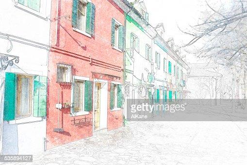 colorful building facade in Burano : Stockfoto