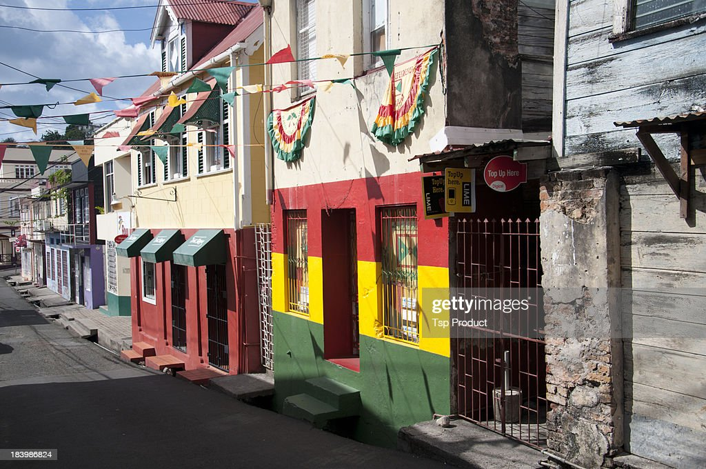 Colorful building on side street, St. Georges