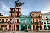Colorful buildings and historic colonial archtiecture on Paseo del Prado, downtown Havana, Cuba, Caribbean.