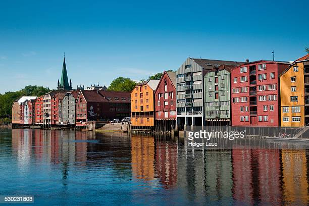 Colorful buildings of wharves along Nidelva river