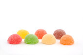 colorful candies jelly beans isolated on white background