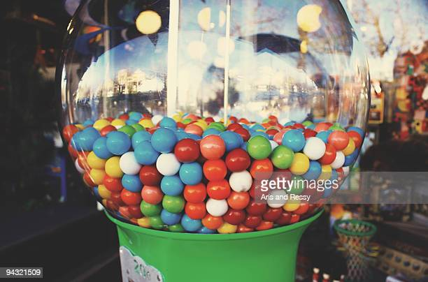 Colorful Candies on a Transparent Glass Sphere