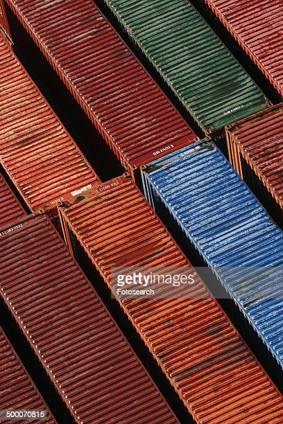 Colorful cargo containers