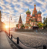 Colorful Cathedral on the Red Square in the early morning
