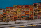 A colorful Central Hong Kong street walkway features a painted wall mural of the city on May 27 in Hong Kong China Viewed as the world's third most...