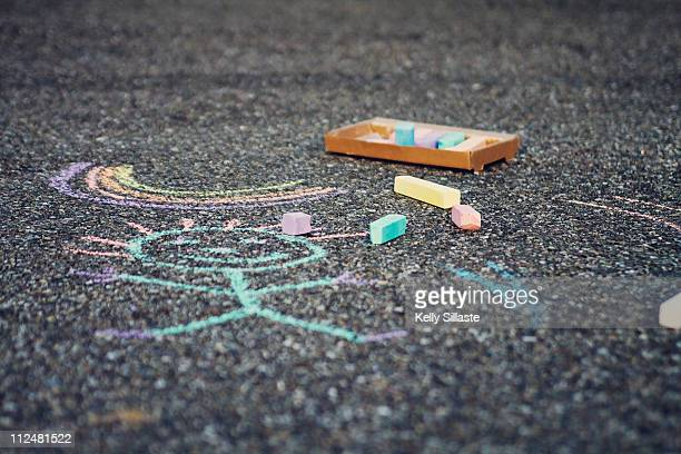 A colorful chalk drawing on the street