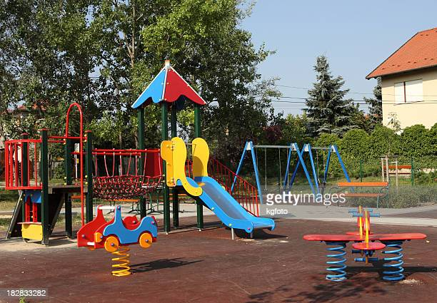 Colorful children's playground with slide and climbing frame